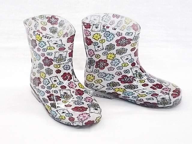 モンフレール レインブーツ 7008 15.0cm 花クマ 可愛い 長靴  < キッズ/ベビーの