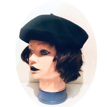 *ウールニット*ベレー帽*黒 ブラック*秋冬*レディース帽子