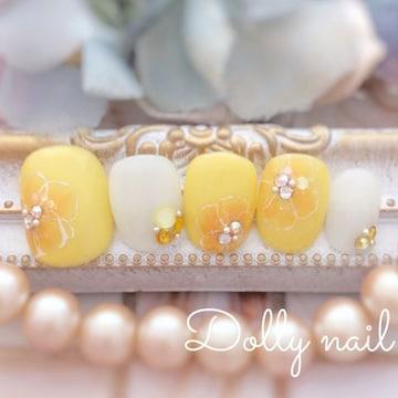 みぢょ!チビ爪ベリショ山吹色イエロー黄色お花柄フラワーネイル