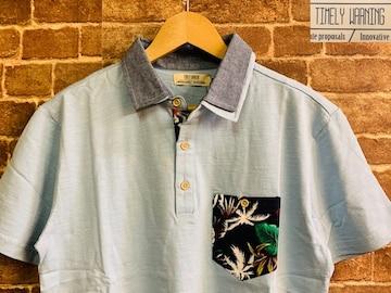 表記L/新品!リーフ柄 Timely Warning ポロシャツ 水色 サーフ 西海岸スタイル