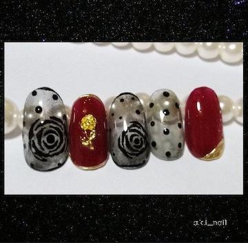 ジェルネイルチップ☆付け爪〜シースルー薔薇×ボルドー