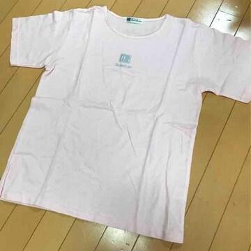 ミセス向◆ピンクチェック半袖Tシャツ◆日本製L相当