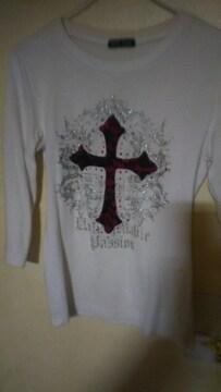 Tシャツ /キラキラ刺繍 クロス(十字架)/M