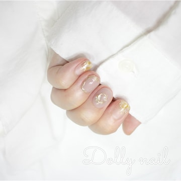 みぢょ!チビ爪ベリショお洒落ニュアンス変形フレンチ/ミラーラインネイル