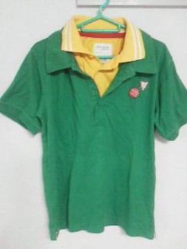 Aー109★新品★半袖フェイクレイヤードポロシャツ グリーンM