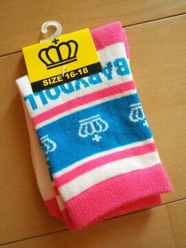 新品靴下/ピンク16〜18�pベビドBABYDOLLベビードール