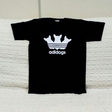 adidogs★おもしろTシャツ★黒★XL★ブラック★綿100%★