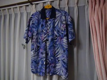 トップのポロシャツ襟アロハシャツ(L)日本製 紫色!。