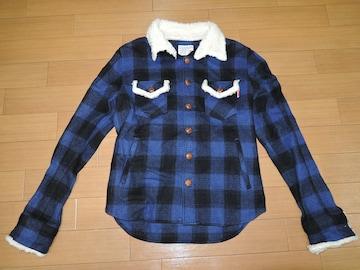 マーブルズMARBLESチェックネルシャツジャケットS青黒ボアTMT