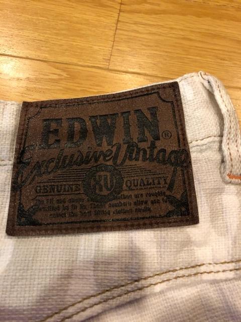 EDWIN  迷彩柄ウエスタンハーフデニム  大きいsizeW46 used120cm < 男性ファッションの
