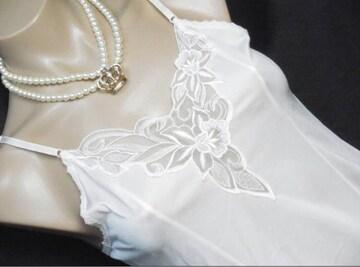 胸元上品花柄レースキレイ スリップ ランジェリー Mくらい
