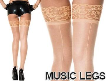 A517)MusicLegsシリコン付きレーストップサイハイストッキングベージュタイツダンス衣装