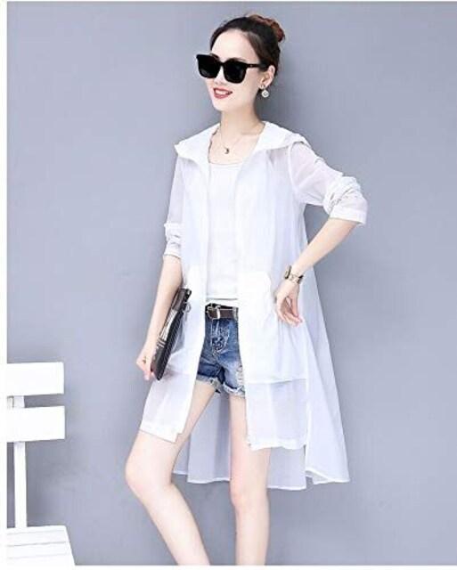 日焼け対策!! フード付きロングカーディガン(XL寸・白) < 女性ファッションの