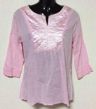 【新品】クリンクル加工☆胸元サテン切替カットソー