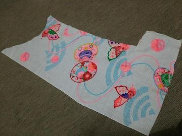 昭和レトロ★子供の浴衣の生地ハギレ★和柄着物柄★蝶々カラフル