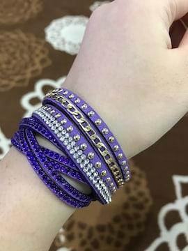 新品ブレスレット紫スパンコールチェーン