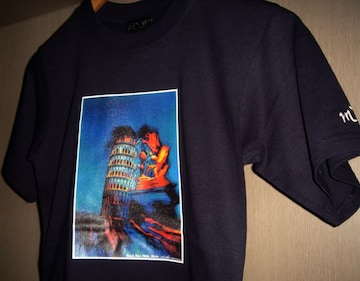 新品 イタリア Pisa ピサの斜塔 アート フォト Tシャツ レア