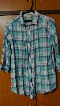 七分袖ロングチェックシャツ☆