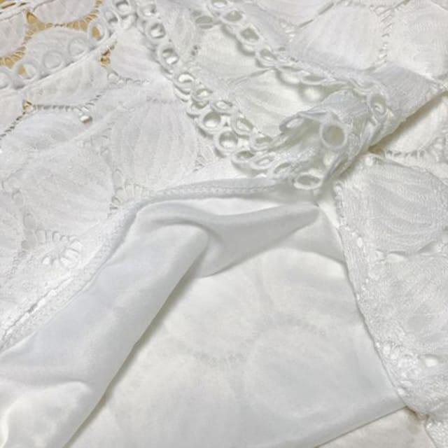 【夢ブラウス】ブラウス  ホワイト 7分袖 総レース < 女性ファッションの