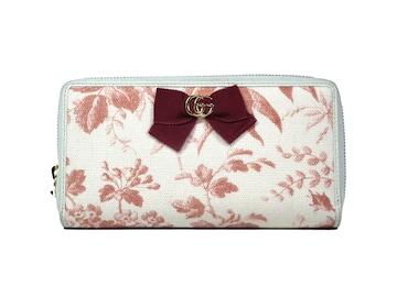 正規グッチ長財布リボン花柄フローラジップアラウンド