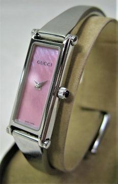 美品 婦人用 腕時計クオーツ レディース グッチGUGGI1500Lピンク