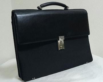 正規 ヴェルサーチVERSACE ロック付ビジネスバッグ黒 ブリーフケース 書類鞄 メンズ