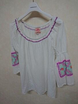 チチカカ/titicaca 刺繍8分袖カットソー フリー レース切替