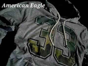 【アメリカンイーグル】Vintage Fooded フード付き 長袖Tシャツ US−M(L)/Gray