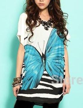 新品[7579]3L〜4L(大きいサイズ)ブルー蝶プリントテロンとしたシャツ