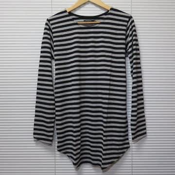 ボーダー柄ロング丈ラウンドカットソー長袖Tシャツ/BLK×GR/L