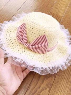 黄色にふりふりレース赤白ストライプデカリボン麦わら女優帽子
