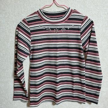 ピンク、黒、白ボーダー、ビジューつき長袖Tシャツ110