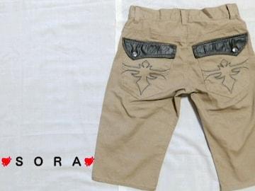 【ROOT THREE】スカル釦レザーフラップポケット百合ユリ刺繍Zipショートハーフパンツ