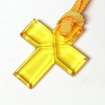 【バカラ】クリスタル クロスペンダント チョーカー イエ