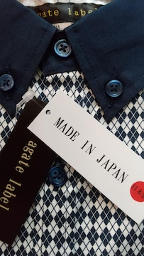 5Lサイズ日本製アーガイル柄クレリックボタンダウン高貴紳士的!長袖シャツ!新品!
