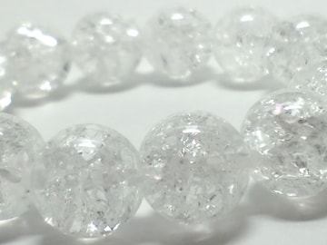 爆裂クラック水晶クリスタル14ミリ§数珠