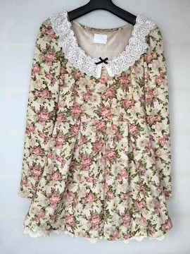N2m EMSEXCITE 甘カワ ワンピ 薔薇柄 M 長袖