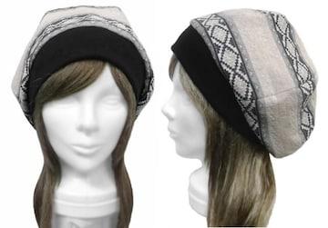 ネイティブ柄 ジャガード織ニット/リブ付ベレー帽◆オフ白mix