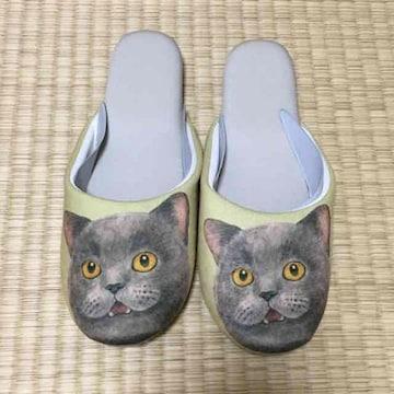 フェリシモ猫部・ブリティッシュショートヘア猫柄スリッパ