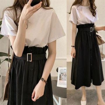 セットアップ  ロングスカート + 半袖 Tシャツ (2XL寸・黒)