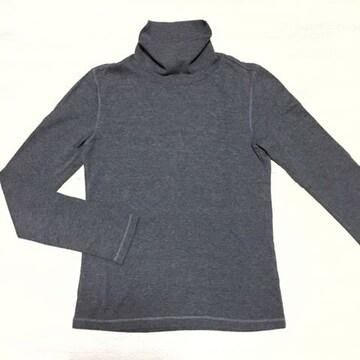 【used】ハイネック コットンTシャツ/UNIQLO/グレー/S