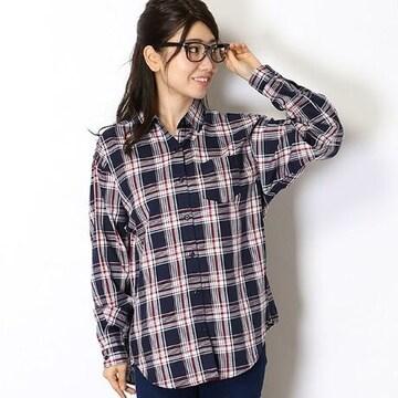 新品INGNIイング長袖チェック柄シャツMネイビーレッドネルシャツ
