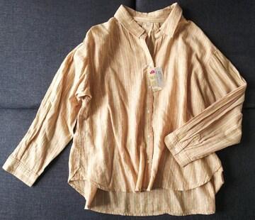 LL★フレンチリネンミックス★ビックシルエットスキッパーシャツ★大きいサイズ