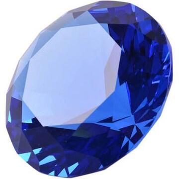 ペーパーウェイト ガラス 文鎮 水晶 ダイヤモンド 100mm】 (水色