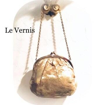 【Le Vernis*キャセリーニ】本革メタリック.がま口ハンドバッグ