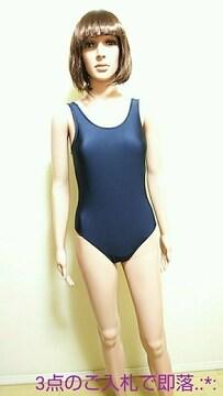 極美品☆大きい160☆光沢つる�Aネイビー競泳水着4242☆3点で即落
