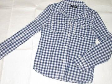 未使用☆ギンガムチェック模様*レディース長袖シャツ(ブルー)