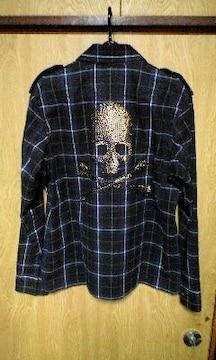 ROENロエン ゴールドスタッズスカルチェックシャツ 46