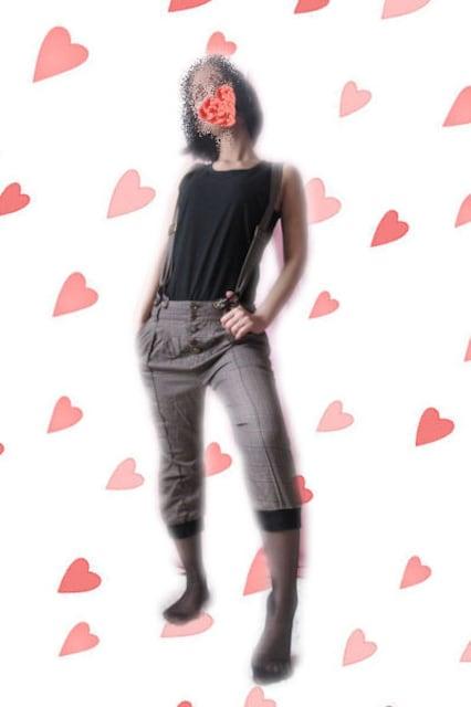 M288☆ボタンに個性あり♪☆チェックのサスペンダー付きパンツ < 女性ファッションの