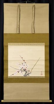 美術年鑑評価額 500万円 森田沙伊「白梅」日本画 掛軸